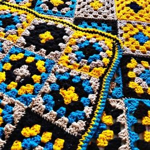 Vintage 1970s Afghan Throw Blanket Boho Hippie